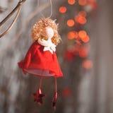 Anjo vermelho com estrela Fotos de Stock Royalty Free