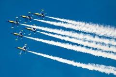 Anjos azuis na formação Fotos de Stock Royalty Free