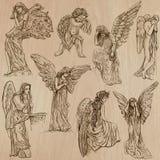 Anjos - bloco tirado mão do vetor Imagens de Stock Royalty Free