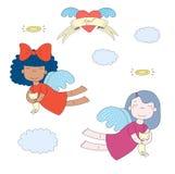Anjos bonitos com ilustração dos gatinhos ilustração do vetor