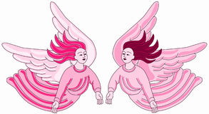 Anjos cor-de-rosa que voam o projeto antigo da telha ilustração stock