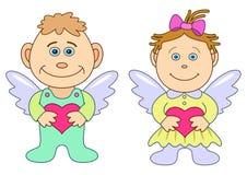 Anjos da menina e do menino com corações ilustração do vetor