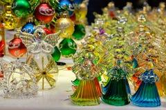 Anjos de vidro no mercado do Natal em Viena, Áustria Fotos de Stock Royalty Free