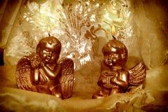 Anjos do Natal da luz de vela Fotos de Stock Royalty Free