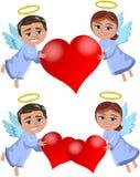 Anjos do Natal que trazem o amor Imagem de Stock