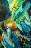 Anjos e abóbadas, pintando pelo óleo na lona ilustração stock