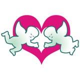 Anjos e um coração Ilustração Stock