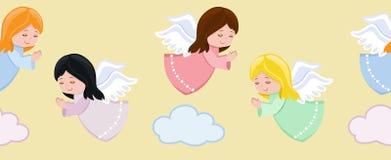 Anjos pequenos bonitos que voam no céu ilustração stock