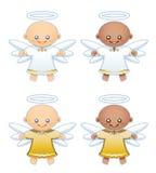 Anjos pequenos no branco e nas vestes do ouro ilustração do vetor