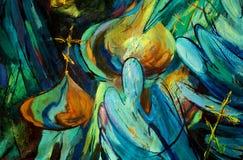Anjos, pintando pelo óleo em uma lona ilustração stock