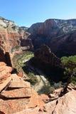 Anjos que aterram a fuga no parque nacional de Zion Foto de Stock