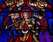 Anjos que fazem a música no vitral Imagem de Stock