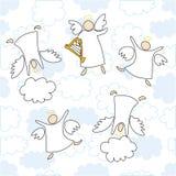 Anjos que jogam e que dançam Imagens de Stock Royalty Free