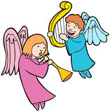 Anjos que jogam instrumentos Fotos de Stock Royalty Free