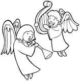 Anjos que jogam os instrumentos - preto e branco Fotos de Stock