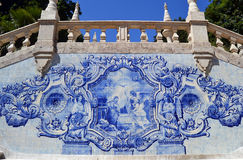 Ankündigungsszene azulejo Weinlesefliesen Stockfotos