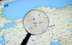 Ankara auf Google Maps Lizenzfreies Stockfoto
