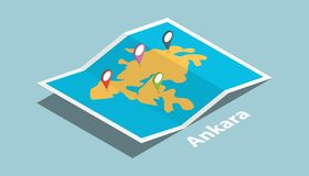 Ankara bada mapy z isometric stylu i szpilki lokaci etykietką na wierzchołku ilustracja wektor