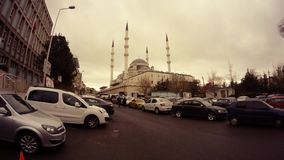 Mosque in centre Ankara cars around cloudy day. Ankara capital of Turkey Cityscape early spring stock video