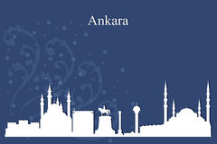 Ankara city skyline silhouette on blue background Royalty Free Stock Image