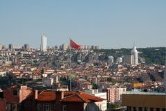 Ankara Cityscape - Hotels & Houses. An Ankara (capital of Turkey) cityscape with view of famous hotels and surrounding houses Royalty Free Stock Photography