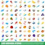 100 Ankara ikon ustawiających, isometric 3d styl royalty ilustracja