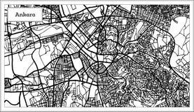 Ankara Indycza mapa w Czarny I Biały kolorze ilustracja wektor