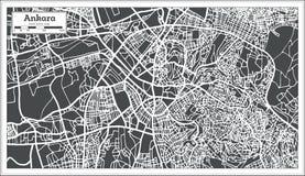 Ankara Indycza mapa w Retro stylu ilustracji