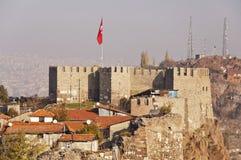 Ankara Kalesi. The old fortress of Ankara, also known as Ankara Kalesi, with the flag of Turkish Republic over it Royalty Free Stock Photography