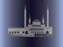 Ankara - Kocatepe moské prucken stilillustration Royaltyfri Bild