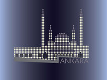 Ankara - Kocatepe Mosque dotted style illustration. European Capitals collection Royalty Free Stock Image