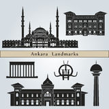 Ankara landmarks and monuments. On blue background in editable vector file Stock Photos