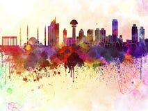 Ankara linia horyzontu w akwareli tle ilustracja wektor