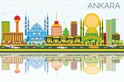 Ankara linia horyzontu z budynkami, niebieskim niebem i odbiciami koloru, Zdjęcia Stock