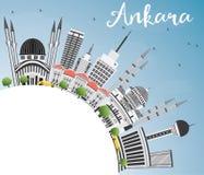Ankara linia horyzontu z Szarą budynków, niebieskiego nieba i kopii przestrzenią, Obrazy Royalty Free