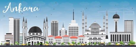 Ankara linia horyzontu z Szarymi budynkami i niebieskim niebem Obraz Royalty Free
