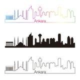 Ankara linii horyzontu liniowy styl z tęczą Zdjęcia Stock