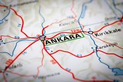 Ankara. Map Photography: Ankara City on a Road Map Stock Photo