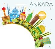 Ankara miasta Indycza linia horyzontu z budynkami, niebieskim niebem i Co koloru, ilustracji