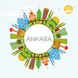 Ankara miasta Indycza linia horyzontu z budynkami, niebieskim niebem i Co koloru, ilustracja wektor