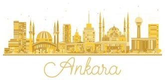 Ankara miasta Indyczej linii horyzontu złota sylwetka ilustracja wektor