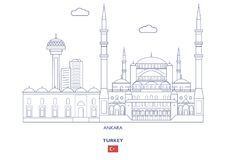 Ankara miasta linia horyzontu, Turcja royalty ilustracja