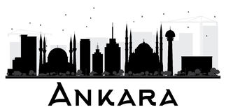 Ankara miasta linii horyzontu czarny i biały sylwetka ilustracji