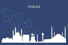 Ankara miasta linii horyzontu sylwetka na błękitnym tle Obraz Royalty Free
