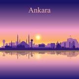 Ankara miasta linii horyzontu sylwetki tło Obrazy Stock