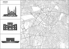 Ankara miasta mapa z pociągany ręcznie architektur ikonami ilustracja wektor