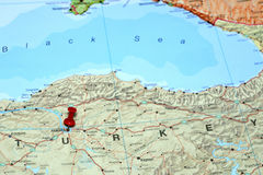 Ankara pinned on a map of europe Royalty Free Stock Images