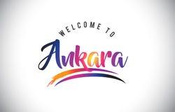 Ankara powitanie wiadomość w Purpurowych Wibrujących Nowożytnych kolorach ilustracja wektor