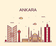Ankara skyline vector illustration linear style Stock Image