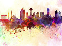 Ankara skyline in watercolor background Stock Photos